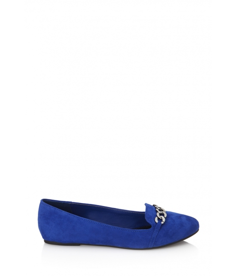 Incaltaminte Femei Forever21 Faux Suede Chain Loafers Bright cobalt