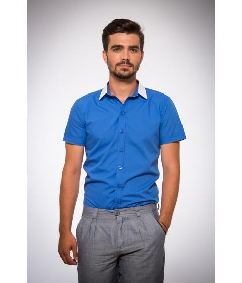 Imbracaminte Barbati Be You Camasa pentru barbati albastra cu guler alb Multicolor