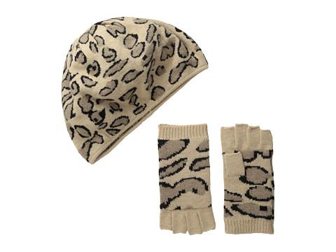 Accesorii Femei BCBGMAXAZRIA Leopard Beret And Fingerless Glove Gift Set Camel
