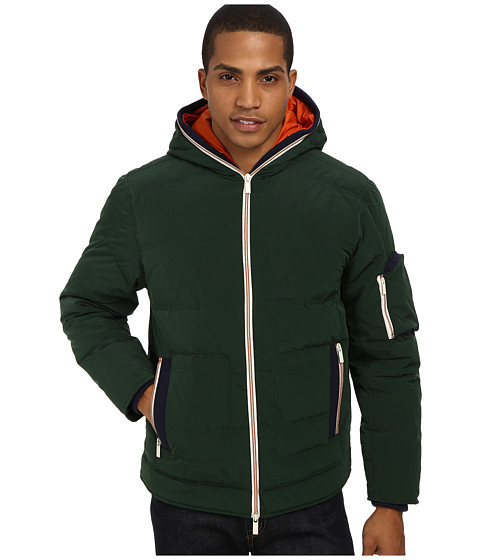 Imbracaminte Barbati Rain Forest Quilted Bomber w Hood Pine