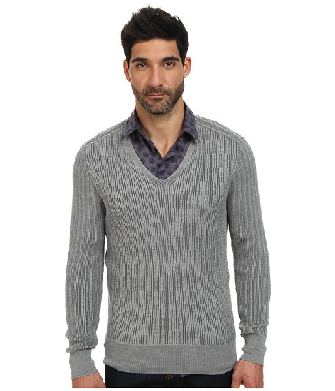 Imbracaminte Barbati John Varvatos Plaited Long Sleeve V-Neck Cable Sweater Y1558Q4 Light Grey Heather