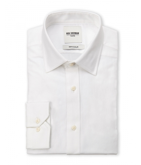 Imbracaminte Barbati Ben Sherman White Slim Fit Twill Dress Shirt White