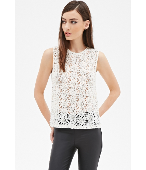 Imbracaminte Femei Forever21 Embellished Crochet Lace Top Cream