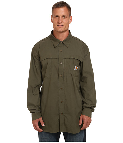 Imbracaminte Barbati Carhartt Big amp Tall Force Mandan Solid LS Woven Moss