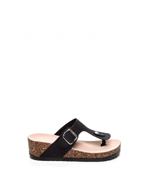 Incaltaminte Femei CheapChic On The Wedge Platform Slide Sandals Black