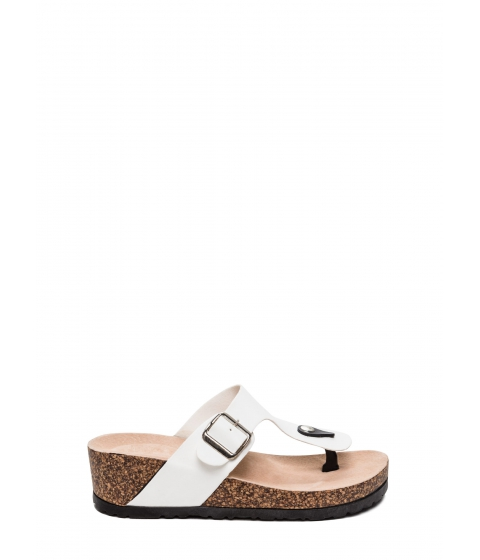Incaltaminte Femei CheapChic On The Wedge Platform Slide Sandals White