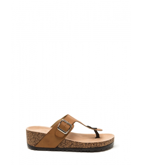 Incaltaminte Femei CheapChic On The Wedge Platform Slide Sandals Tan