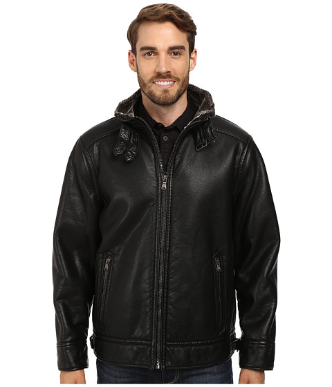 Imbracaminte Barbati Calvin Klein Pebble Faux-Leather Moto Jacket with Faux-Shearling Black
