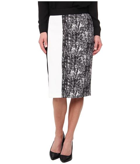 Imbracaminte Femei Vince Camuto Texture Etching Pencil Skirt w White Trim Rich Black