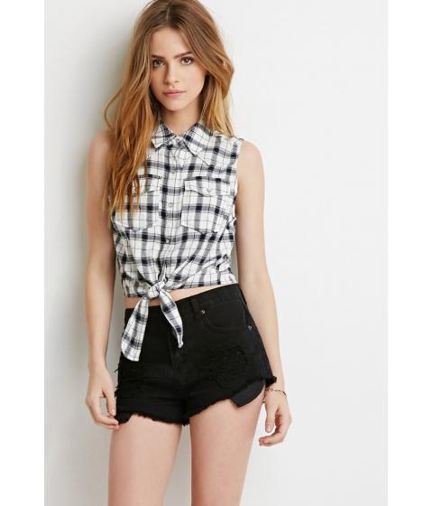 Imbracaminte Femei Forever21 Self-Tie Plaid Shirt Creamnavy