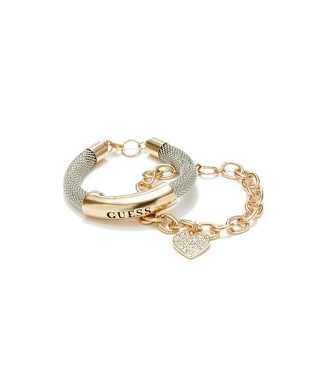 Bijuterii Femei GUESS Gold-Tone Mesh ID Bracelet silver