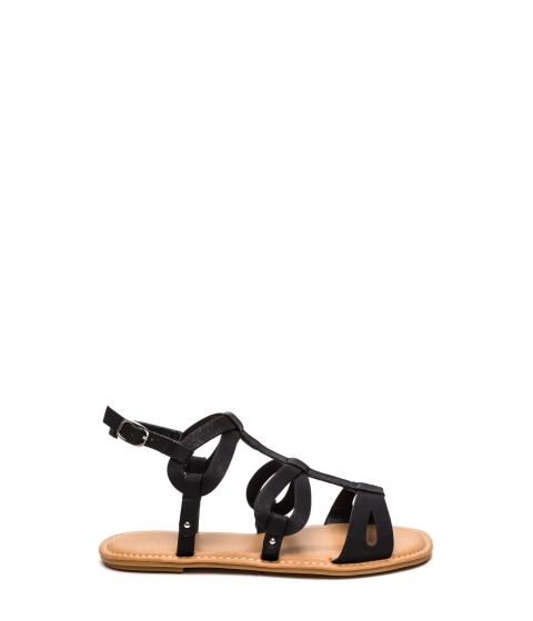 Incaltaminte Femei CheapChic Ready To Go Faux Leather Sandals Black