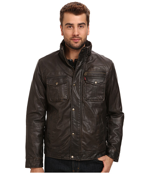 Imbracaminte Barbati Levi's Faux Leather Two-Pocket Trucker Jacket Dark Brown