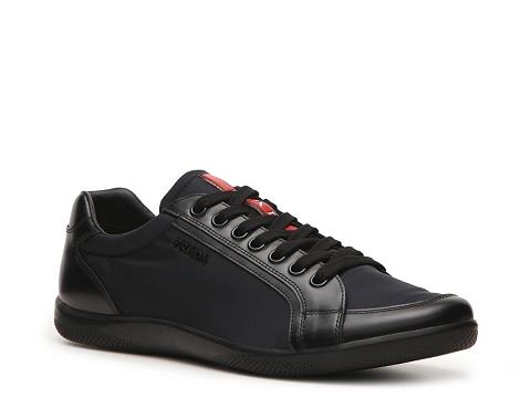 Incaltaminte Barbati Prada Leather Nylon Sneaker BlackNavy Blue