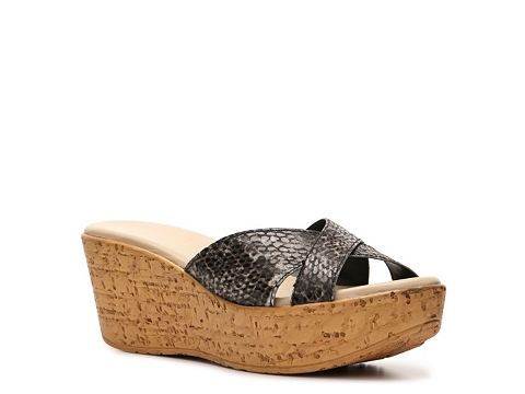 Incaltaminte Femei Callisto of California Bonniee Reptile Wedge Sandal Brown Reptile