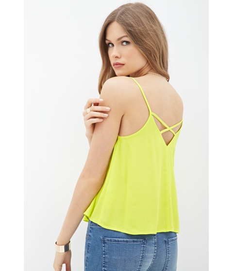 Imbracaminte Femei Forever21 Contemporary Crisscross-Back Georgette Cami Lime