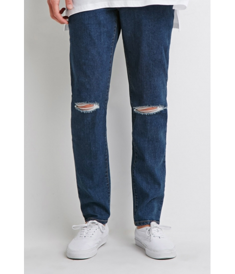 Imbracaminte Barbati Forever21 Ripped Skinny Jeans Denim washed