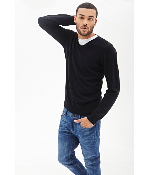 Imbracaminte Barbati Forever21 V-Neck Knit Sweater Black