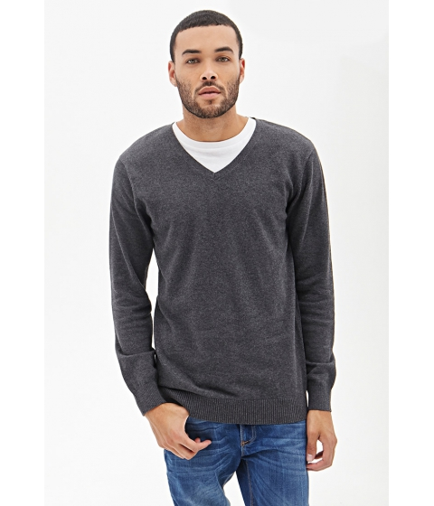 Imbracaminte Barbati Forever21 V-Neck Knit Sweater Charcoal heather