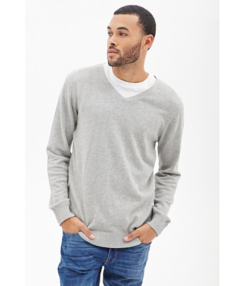 Imbracaminte Barbati Forever21 V-Neck Knit Sweater Heather grey