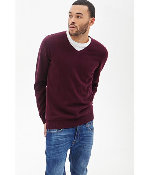Imbracaminte Barbati Forever21 V-Neck Knit Sweater Burgundy