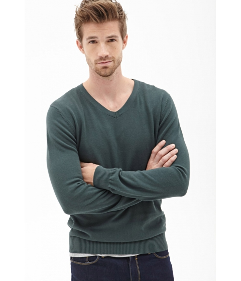 Imbracaminte Barbati Forever21 V-Neck Knit Sweater Green