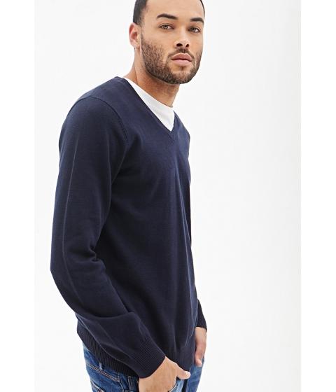 Imbracaminte Barbati Forever21 V-Neck Knit Sweater Navy