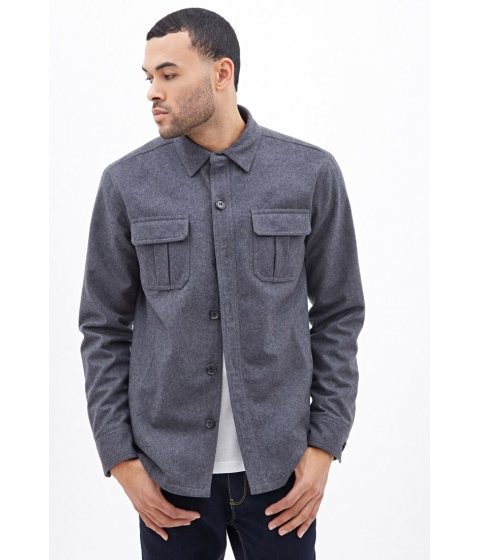 Imbracaminte Barbati Forever21 Pocket Shirt Jacket Heather grey
