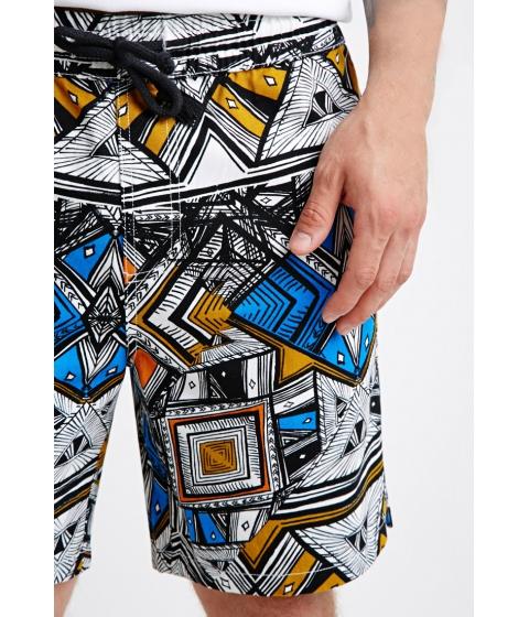 Imbracaminte Barbati Forever21 Abstract Geo Print Drawstring Shorts Whiteblack