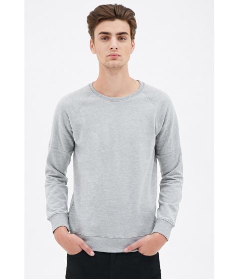 Imbracaminte Barbati Forever21 Quilted Raglan Sweatshirt Heather grey