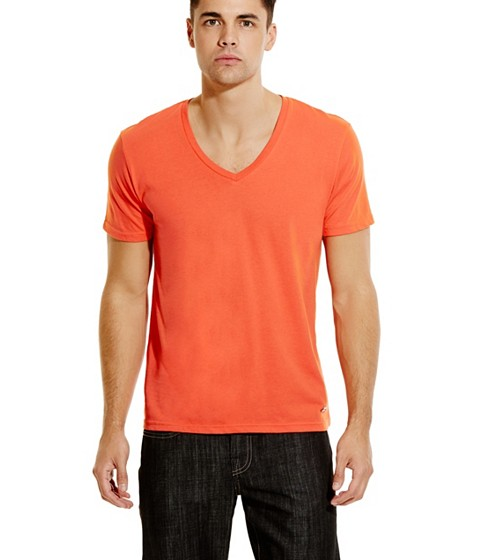 Imbracaminte Barbati GUESS Qualified V-Neck Tee orange sky