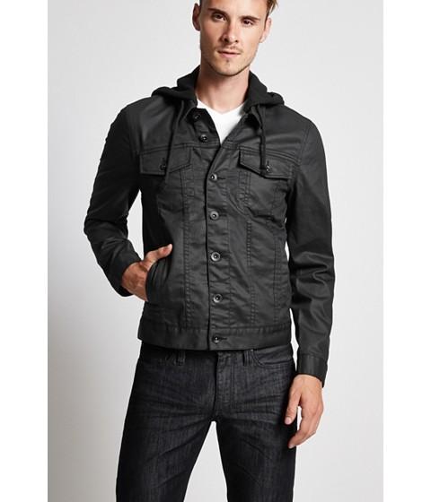 Imbracaminte Barbati GUESS Rakim Coated Denim Jacket with Removable Hood black wash