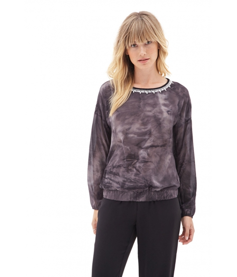 Imbracaminte Femei Forever21 Contemporary Surrealist Tie-Dye Top Charcoalgrey