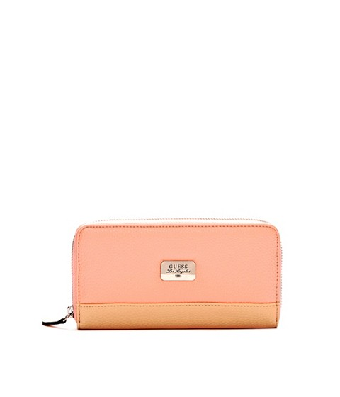 Genti Femei GUESS Greenville Color-Blocked Zip-Around Wallet blush multi