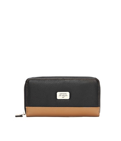 Genti Femei GUESS Greenville Color-Blocked Zip-Around Wallet black multi