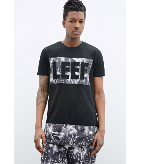 Imbracaminte Barbati Forever21 LEEF PARIS Lightning Graphic Logo Tee Blackgrey