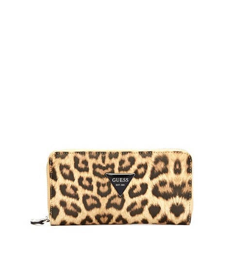 Genti Femei GUESS Abree Leopard-Print Zip-Around Wallet leopard