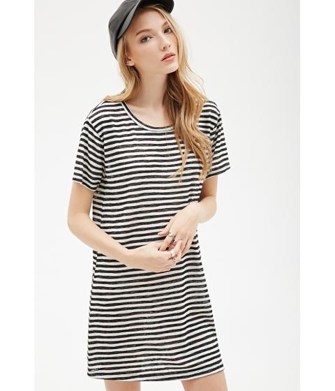 Imbracaminte Femei Forever21 Striped Tee Shirt Dress Blackwhite