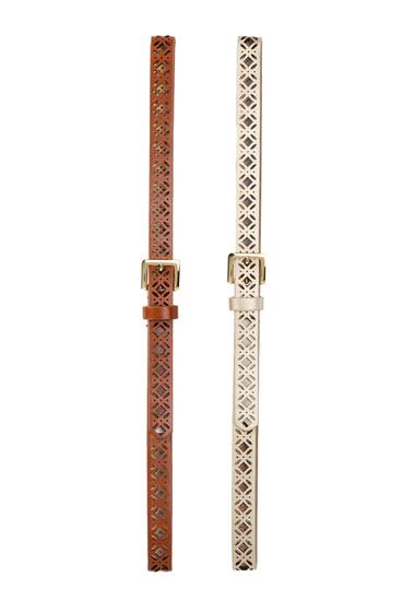Accesorii Femei Steve Madden Faux Leather Belts - Set of 2 COGNC-GLD