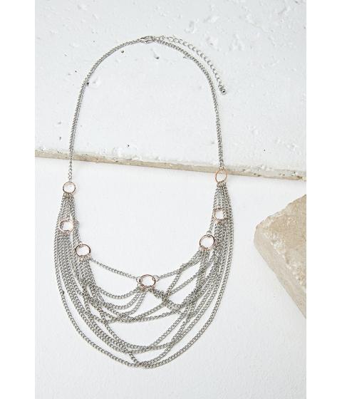 Bijuterii Femei Forever21 Layered Chain Statement Necklace Silverrose