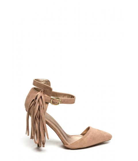 Incaltaminte Femei CheapChic Side Of Fringe Faux Suede Heels Taupe