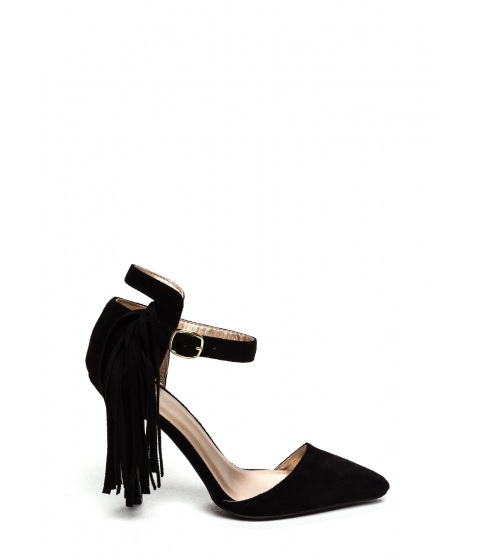 Incaltaminte Femei CheapChic Side Of Fringe Faux Suede Heels Black