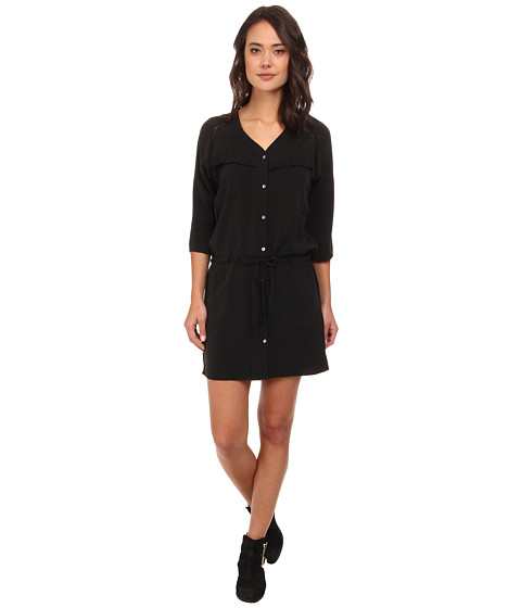 Imbracaminte Femei Scotch Soda Button Down Dress in Stone Washed Tencel w Fringe Detail Black