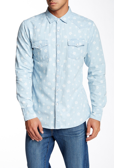 Imbracaminte Barbati Indigo Star Sando Printed Long Sleeve Regular Fit Shirt Bleached Indigo