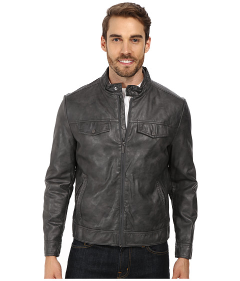 Imbracaminte Barbati Kenneth Cole Reaction PU Zip Front Jacket Coal