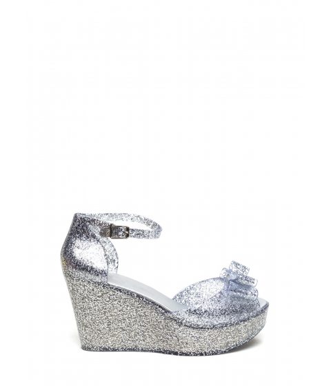 Incaltaminte Femei CheapChic Bow Ahead Ankle Strap Jelly Wedges Silverclear