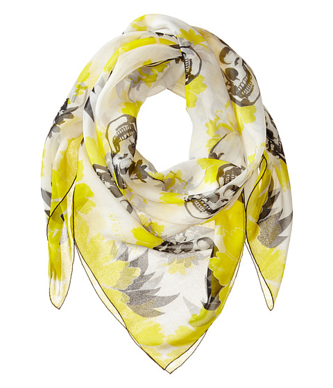 Accesorii Femei Alexander McQueen Multiskull Bloom Scarf LemonBlack