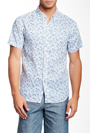 Imbracaminte Barbati Barque Floral Print Short Sleeve European Fit Linen Shirt BLUE