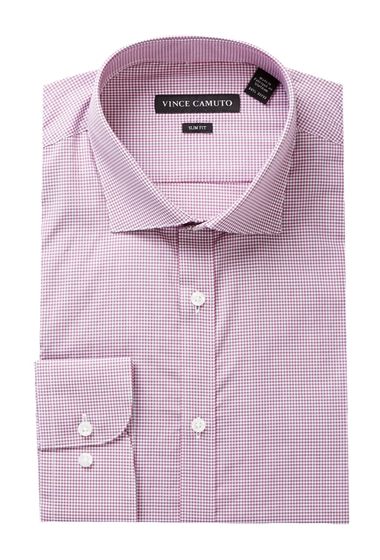 Imbracaminte Barbati Vince Camuto Long Sleeve Slim Fit Gingham Dress Shirt CINNAMON GINGHAM
