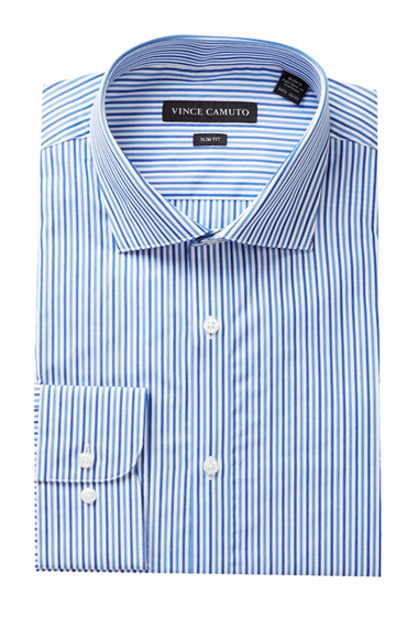 Imbracaminte Barbati Vince Camuto Long Sleeve Slim Fit Stripe Dress Shirt FRENCH BLUE DOBBY STRIPE